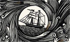 Wood engraving on the cover of We, the Drowned by Carsten Jensen