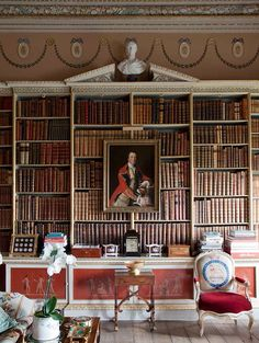 Library in English Country House, Gloustershire. Recorded in Domesday book in English version of badminton sport invented here. Badminton court is size of Great Hall of this home. Queen came here during WWII with 55 servants. - (to the manor born)