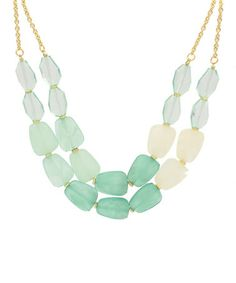 This Gold & Mint Double Layer Necklace by Olivia Welles Jewelry is perfect! #zulilyfinds