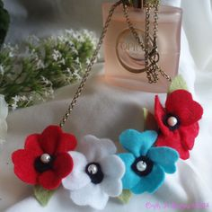 Felt Flower Necklace  Red white & turquoise by CraftyJoDesigns