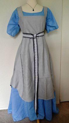 Viking Apron Dress in Gray Linen