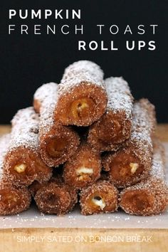 Pumpkin French Toast Roll-ups - these are the perfect fall breakfast recipe..oooooh...with a little maple syrup!? Perfection! @naomijamess