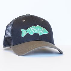 Retro Redfish Trucker Hat - Marine Navy and Graphite Awesome Trucker Hat! You an never have enough hats! Great gift idea for any man in your life!! Always an easy christmas gift idea! Boyfriend Gift for Christmas