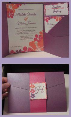 Hawaiian wedding invitation purple orange pink wedding invitation