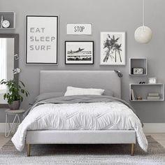 Ellery Upholstered Bed, Twin, Gray Performance Everyday Velvet, IDS - Furniture - Upholstered Beds - Pottery Barn Teen Bedroom Sets, Bedroom Colors, Bedding Sets, Ikea Bedroom, Bedroom Plants, Bedroom Loft, Bedroom Storage, Bedroom Apartment, Bedroom 2018