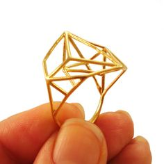 Architectural Structure Wide Geometric Gold Ring by osnatharnoy, $69.00