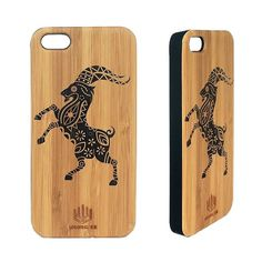 Bamboo phone case - The Dancing Goat - woodgeekstore. Wrap your phone with the warmth of our bamboo inlay case. Adds natural wood protection and style to your smart phone. Two different species of bamboo inlaid together to form a unique design. Natural wooden cover with a polycarbonate case. Precision cut using a laser to fit your phone perfectly. iPhone 5,iPhone 5s, iPhone 6, iPhone 6s, Iphone 6+ and iPhone 6s+..