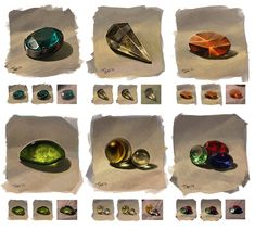 From nature: gems by JuliaTar treasure jewels marbles precious stones equipment gear magic item Prop Design, Game Design, Digital Painting Tutorials, Art Tutorials, Photoshop, Game Item, Fantasy Weapons, Art Graphique, Dungeons And Dragons