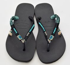 SALE Black Havaianas Flip Flops Boho Style, Bohemian Shoes, Beaded Flip Flops, Decorated Beach Sandals Gipsy Hippie Chic Style Turquoise & Sterling Silver Bohemian Beaded Flip Flop - 100% Handmade. You can decorate your hands, ears, neck but also … your feet! These are an absolutely