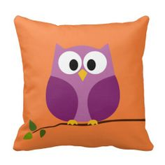 Cute and whimsical Owl Cartoon on branch with Pattern on back Pillow - decor, for the home.