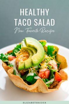 Vegan and Gluten Free Salad Recipe. Healthy Taco salad for Summer days. Elizabeth Rider #ElizabethRider #HealthySalad #TacoSalad