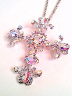 Silver Crystal Cross Pendant Necklace  by divinitycollection, $16.00