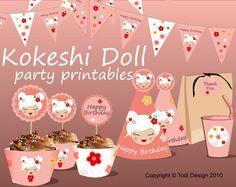 Birthday Party Printables - Kokeshi Doll Japanese theme [todidesign at Etsy] Japanese Birthday, Japanese Party, Thank You Happy Birthday, Happy Birthday Banners, Kawai Japan, Birthday Parties, Birthday Ideas, Kid Parties, Party Flags