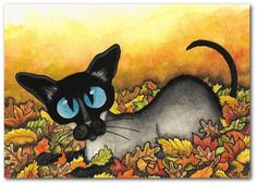 Autumn Leaves and Siamese Cat Art - Prints or ACEOs by Bihrle CK206