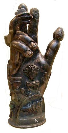 This bronze Hand of Sabazius is an example of one that would be attached to a wooden pole for religious ceremonies and processions.