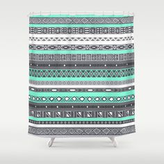 Tiffany Turquoise Aztec Print Shower Curtain THIS IS MY DREAM BATHROOM COLOR!