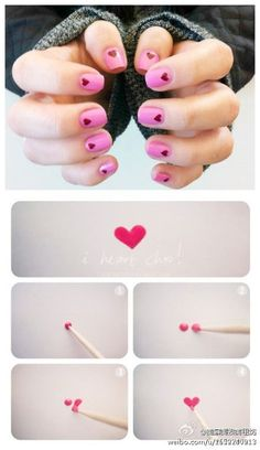 DIY nail art tutorial, how to, easy hearts, hand painted, nails Cute Nail Art, Nail Art Diy, Easy Nail Art, Diy Nails, How To Nail Art, Nail Art Tools, Nagel Hacks, Super Nails, Nail Art Hacks