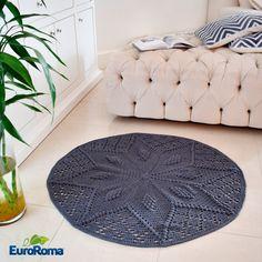 Receita EuroRoma • Tapete de Crochê Estrela cor Jeans