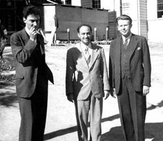 J. Robert Oppenheimer, Enrico Fermi, and Ernest Lawrence, key figures in the Manhattan Project