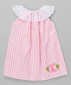 another great find on zulily pink amp white gingham palm initial yoke dress infant amp toddler zulilyfinds - PIPicStats The frilly collar and eye-catching decoration at the sides of the personalization make this dress a showstopper. Shipping note: This it Little Dresses, Little Girl Dresses, Toddler Dress, Baby Dress, Infant Toddler, Sewing Patterns Girls, Gingham Dress, Red Gingham, Baby Sewing