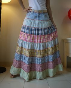 Fantasy Patched Tiered Long Hippie Funky Denim Jean Skirt. $30.00, via Etsy.