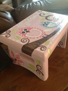 Light Pink Square Owl Step Stool - Brooke Owl - Custom Customize - Bedroom Bathroom Decoration - Wooden birds