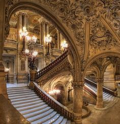 The Paris Opera House--- The opera house was the most novel and creative building of the Second Empire with an exuberant neo-classical . The carved decoration was the most exotic ever seen in Paris. Beautiful Buildings, Beautiful Places, Stunningly Beautiful, Absolutely Gorgeous, Architecture Cool, Paris Opera House, Belle Villa, Paris Ville, Grand Staircase
