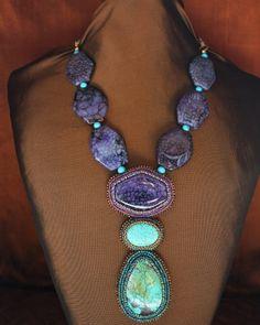 Brazilian Purple Agate, Genuine Turquoise & Howlite Necklace