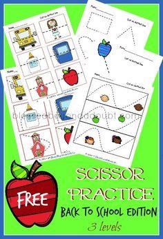Free preschool scissor practice printables with a back to school theme.