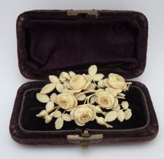 Victorian Hand Carved Ivory Brooch Featuring Roses Intricately Hand Carved