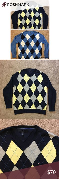 $140 Value Two Tommy Hilfiger Argyle Sweaters Two very Nice Tommy Hilfiger Argyle Sweaters   These are premium Quality Sweaters and Retail for $70 A Piece   Colors are Light Blue With White and Navy Blue Plaid And Navy Blue With Yellow And Gray Plaid   They are both size XL   Never Worn Only Tried On, Comes from a smoke free home Tommy Hilfiger Sweaters Crewneck