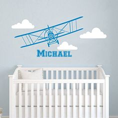 Airplane Wall Decal Name Cloud Vinyl Sticker Personalized Custom Name Biplane Clouds Decals Plane Kids Baby Name Boys Nursery Room Decor Art ZX223 ** More info could be found at the image url.