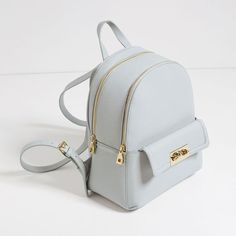 Women's Backpack Models Gray Zipper Simple And Stylish - Bags and Purses 👜 Cute Mini Backpacks, Stylish Backpacks, Girl Backpacks, Leather Backpacks, School Backpacks, Fashion Bags, Fashion Backpack, Fashion Jewelry, Women Jewelry