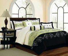 7-Piece King Size Comforter Set Embroidery Floral Black Sage Bed-In-A-Bag