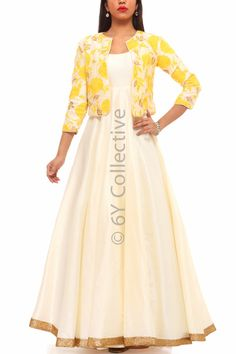 Yellow Floral Jacket with Pearl Anarkali Kurti Neck Designs, Dress Neck Designs, Kurti Designs Party Wear, Blouse Designs, Long Gown Dress, Saree Dress, Indian Designer Outfits, Designer Gowns, Casual Gowns