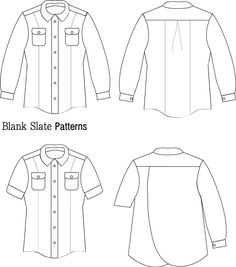 Line Drawing - Novelista Shirt Sewing Pattern for Women - Button Down Shirt Sewing Pattern by Blank Slate Patterns