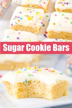 Sugar Cookie Bars - Soft and chewy sugar cookies in bar form! Topped with a sweet buttercream for a delicious and easy treat! Holiday Cookie Recipes, Best Cookie Recipes, Best Dessert Recipes, Holiday Desserts, Easy Desserts, Sweet Recipes, Delicious Desserts, Christmas Deserts, Yummy Food