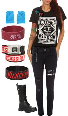 """""""Ariel's Outfit c:"""" by lolataelizabethtaylor ❤ liked on Polyvore.... shorter boots or converse, no hand things"""