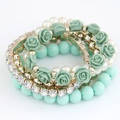 2014 Trendy Fashion Candy Color Pearl Rose Flower Multilayer Charm Bracelet & Bangle For Women Fashion Jewelry!1521