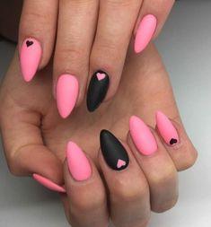 nageldesign sommer rosa mit schwarz kombinieren