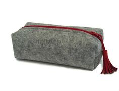 Grey Felt Pencil Case Make Up Case Travel Case Cosmetic by feltapp, $28.50