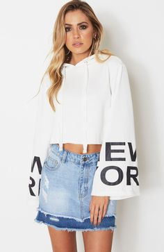 New York Cropped Hoodie White
