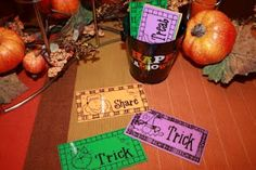 This is a fun Halloween Music idea. Place in a basket/bucket TRICK - TREAT or SHARE cards. Allow a child to come and pick a card from the b. Primary Songs, Primary Singing Time, Primary Activities, Primary Lessons, Lds Primary, Halloween Songs, Halloween Party Games, Trick Or Treat Song, Lds Music