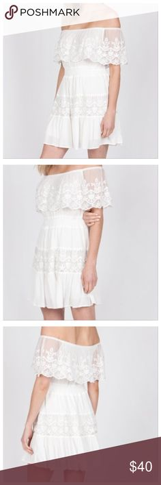 Off shoulder dress with crochet lace This off-white off the shoulder dress is great for your upcoming vacation or for a fun night or day out. True to size. 100% rayon. It has an elastic waistband for stretch. Monoreno Dresses Mini