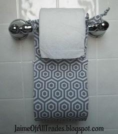 DIY fabric toilet paper holder.