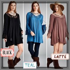 "💥HOST PICK 2/22💥BOHO LACE TUNIC DRESS ROMANCE. BEAUTY. MYSTERY. FUN. This lovely dress/tunic covers all those. Gorgeous lace panels & dramatic bell sleeves. Front neck tie, in Latté, Black or Teal. Polyester/spandex/rayon blend.                                                                  ♦️1X: BUST: 50""                                                                            ♦️2X: BUST: 54""                                                    ♦️3X: BUST: 58"" tla2 Dresses"