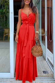 This front button maxi dress is boho dress, V-neck design and self-tie detail in the front of the dress. Style it with heels and a simply nude clutch. Summer Dresses For Women, Spring Dresses, Day Dresses, Red Maxi Dresses, Dress Red, Long Casual Dresses, Stitching Dresses, Patchwork Dress, Spaghetti Strap Dresses