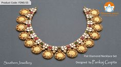 Flat Diamond Necklace Set from Tibarumal Jewels designed by Pankaj Gupta; encrusted in gold, this necklace reflects the ornate artistry of south-Indian jewellery.