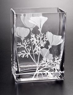 Wild Poppy Vase  glass by Cynthia Myers