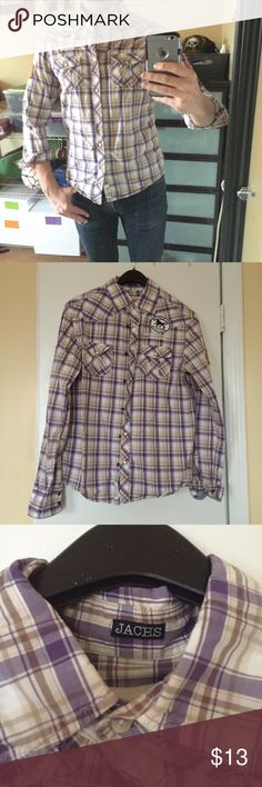 JACHS Pearl Snap Plaid Button Down JACHS Pearl Snap Plaid Button Down with patches in size M (fits more like a Small). See last pic to see patches on the shirt. Well worn, but in good condition....no stains, holes, or tears. Jachs Shirts Casual Button Down Shirts